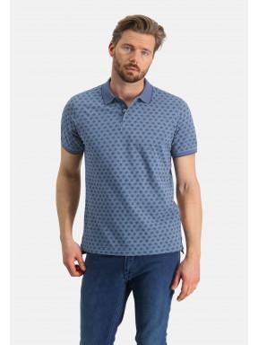 Printed-polo-of-organic-cotton---midnight/grey-blue