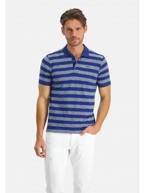 Poloshirt-Pique-Short-Sleeve-Striped---cobalt/white