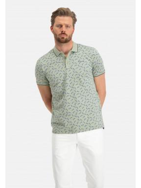 Poloshirt,-Autodruck---blattgrün/dunkelblau