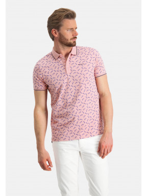 Polo-with-a-car-print---pink/midnight