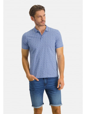 Polo-jersey-with-print---blue/cobalt