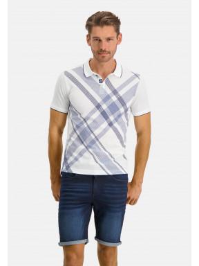 Polo-piqué-manches-courtes-imprimé---blanc/blue-foncé