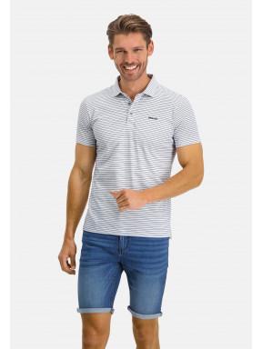 Poloshirt,-Jersey,-kurzarm,-Streifen---weiß/kobalt