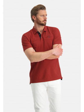 Poloshirt,-Piqué,-Pima-Baumwolle---ziegel-uni