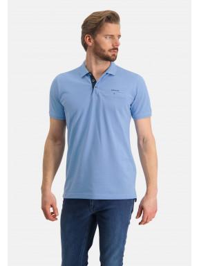 Poloshirt,-Piqué,-Pima-Baumwolle---mittelblau-uni