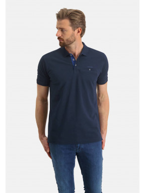Poloshirt,-Piqué,-Pima-Baumwolle---dunkelblau-uni