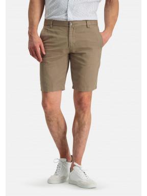Shorts-of-a-linen-blend---greenbrown-plain