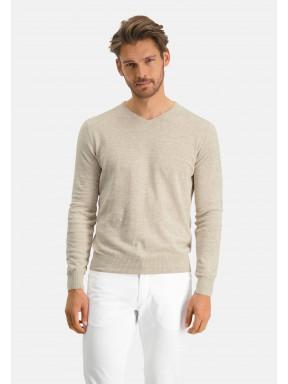 Modern-Classics-Pullover,-V-Ausschnitt---hellbeige-uni