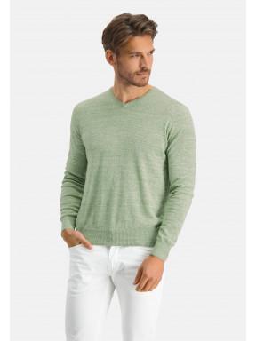 Modern-Classics-Pullover,-V-Ausschnitt---blattgrün-uni