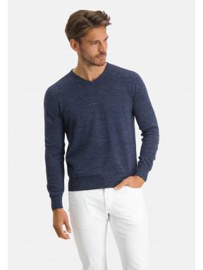 Modern-Classics-Pullover,-V-Ausschnitt---dunkelblau-uni