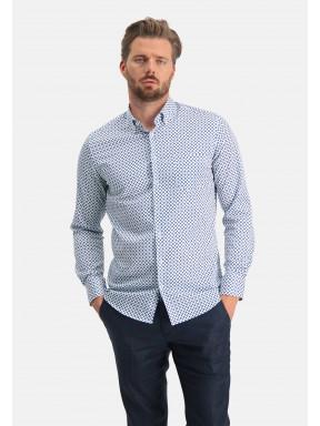 Modern-Classics-chemise-en-coton-stretch---cobalt/blanc