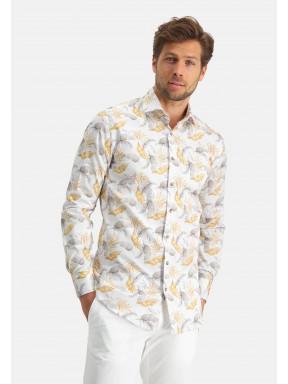 Modern-Classics-chemise-en-coton-stretch---jaune-clair/brun-foncé