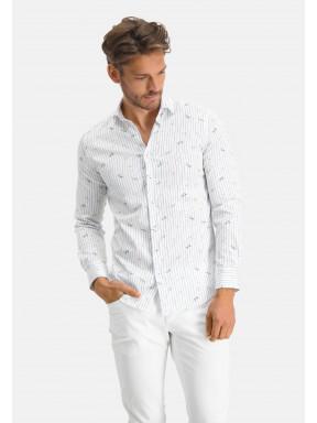 Modern-Classics-chemise-à-imprimé-libellule---cobalt/jaune-clair