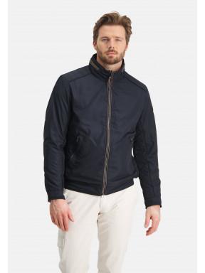 Jacket-with-padded-parts---dark-blue-plain