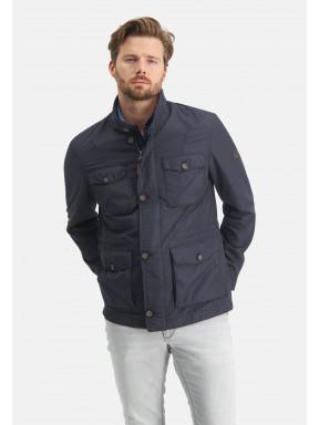 Jacke,-Seitentasche,-halb-lang---dunkelblau-uni