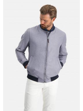 Short-jacket-of-a-linen-blend---navy-plain