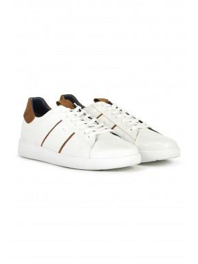 Sneaker,-Schnürverschluss---weiß/sand