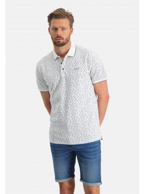 Poloshirt,-Piqué,-kurzarm,-Druck---weiß/kobalt