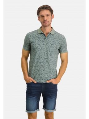 Poloshirt,-Piqué,-kurzarm,-Druck---moosgrün/kobalt