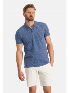 Poloshirt,-Piqué,-kurzarm,-Druck---grau-blau/kobalt