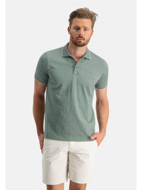 Poloshirt,-Jersey,-kurzarm,-uni---moosgrün-uni