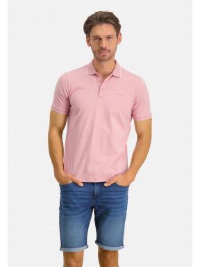 Poloshirt,-Jersey,-kurzarm,-uni---rosa-uni