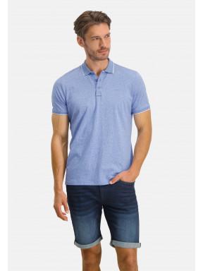 Poloshirt,-Jersey,-kurzarm,-uni---grau-blau-uni
