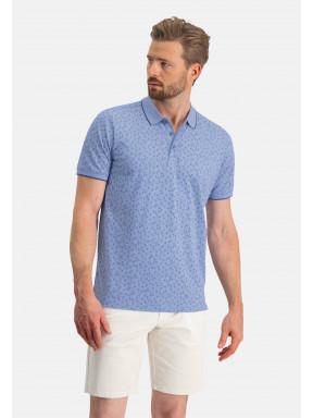 Poloshirt,-Jersey,-kurzarm,-Druck---grau-blau/kobalt