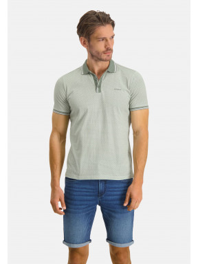 Poloshirt,-Jersey,-kurzarm,-Druck---weiß/moosgrün