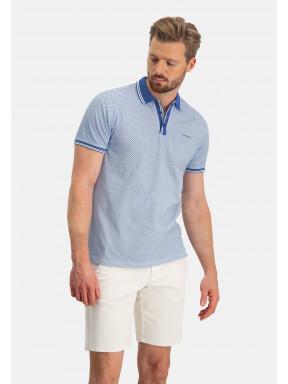 Poloshirt,-Jersey,-kurzarm,-Druck---weiß/kobalt