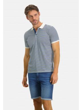 Poloshirt-Jersey-Short-Sleeve-Striped---white/cobalt