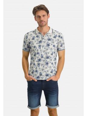 Poloshirt-Pique-Short-Sleeve-Print---cream/midnight