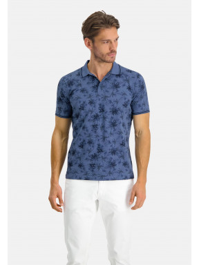 Poloshirt-Pique-Short-Sleeve-Print---grey-blue/midnight