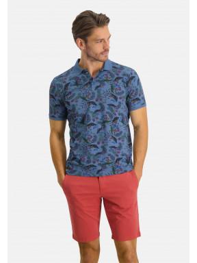 Poloshirt-Pique-Short-Sleeve-Print---grey-blue/dark-green