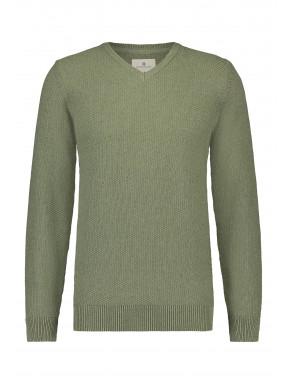 Pullover,-V-Ausschnitt,-Recycelte-Baumwolle-Mix