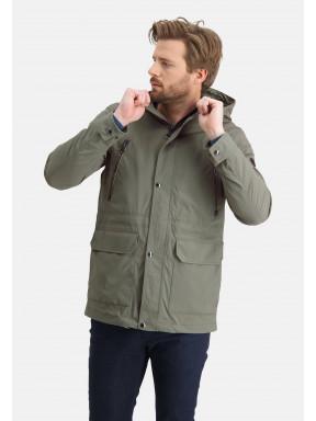 Manteau-stretch-à-capuchon