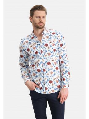 Regular-fit-overhemd-met-bloemen