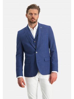 Modern-fit-blazer-van-een-polyester-mix