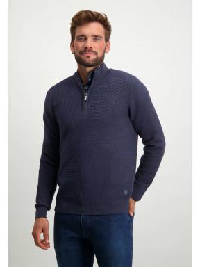 Fijngebreide-trui-met-sportzip---marine/donkerblauw