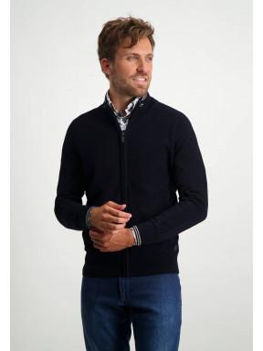 Regular-fit-cardigan-with-saddle-sleeves---dark-blue-plain