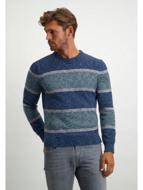 Gestreepte-trui-met-ronde-hals---donkerblauw/bladgroen