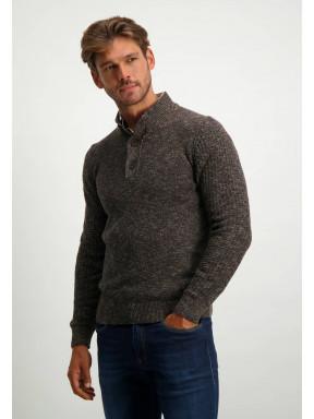 Regular-fit-trui-met-sportzip---donkerblauw/donkerbruin