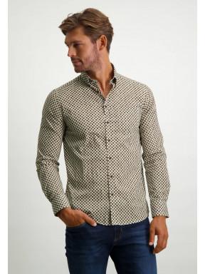 Button-down-overhemd-met-een-print---cognac/donkerblauw
