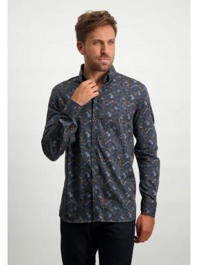 Overhemd-met-botanische-print---donkerblauw/cognac