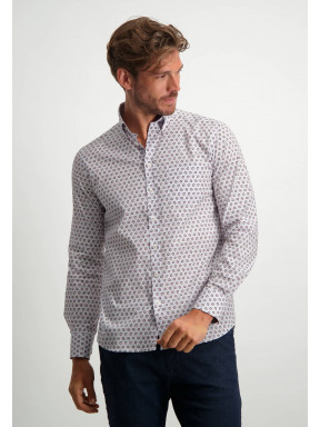 Poplin-overhemd-met-all-over-print---oud-roze/sepia