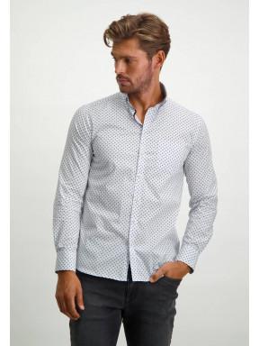 Stretch-overhemd-met-regular-fit---zilvergrijs/lichtblauw