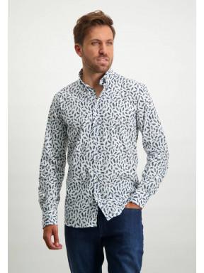 Overhemd-met-verenprint---donkerblauw/kobalt