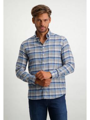 Geruit-overhemd-van-100%-katoen---donkerblauw/kobalt