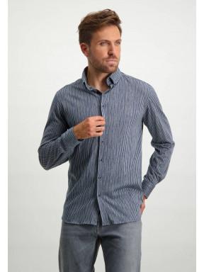 Jersey-overhemd-van-100%-katoen---zilvergrijs/donkerblauw