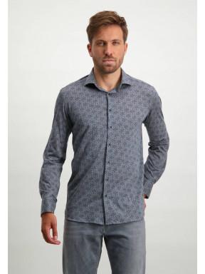Katoenen-overhemd-met-print---zilvergrijs/donkerblauw
